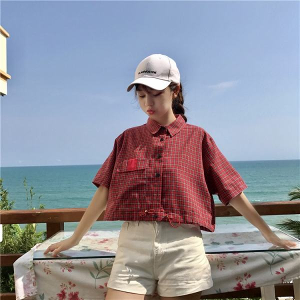 Plaid Waist Tight Polo Shirt | Chung Ha