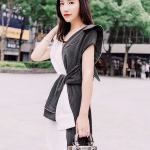 White And Striped Black Assymetric Shirt Dress | Irene – Red Velvetct