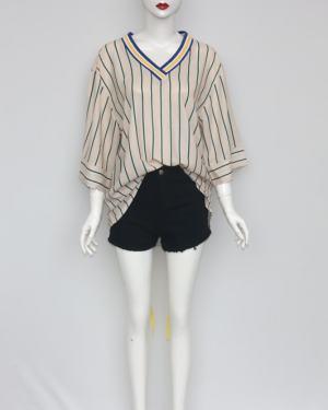 Lisa V-neck Vertical Striped Shirt (2)