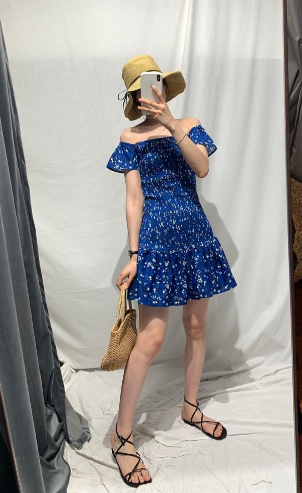 Flower Print Blue Dress | Mina – Twice