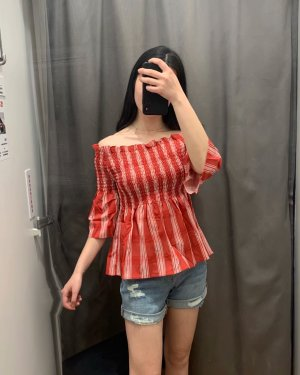 Miyeon Red Plaid Off-Shoulder Blouse (11)