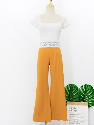 Rose Retro Pants & Floral Square Collar Crop Top (1)