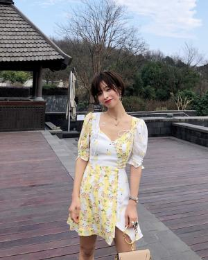 Rose Yellow and White Floral Cherry Dress (4)