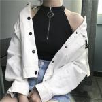 Neck Zipper High Collar Top | Yeji – ITZY