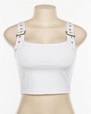 Ryujin Belt Shoulder Strap White Crop Top (5)