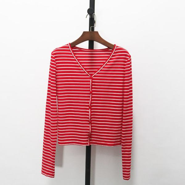 Red Striped Long Sleeve Buttons Cardigan | Seulgi – Red Velvet