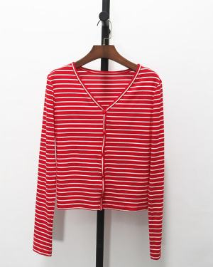 Seulgi Red Striped Long Sleeve Buttons Shirt (5)