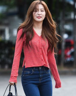 Red Striped Long Sleeve Buttons Cardigan   Seulgi – Red Velvet
