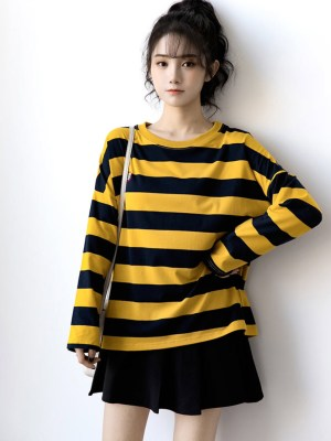 Seulgi Yellow Striped Long-Sleeved Sweatshirt (11)