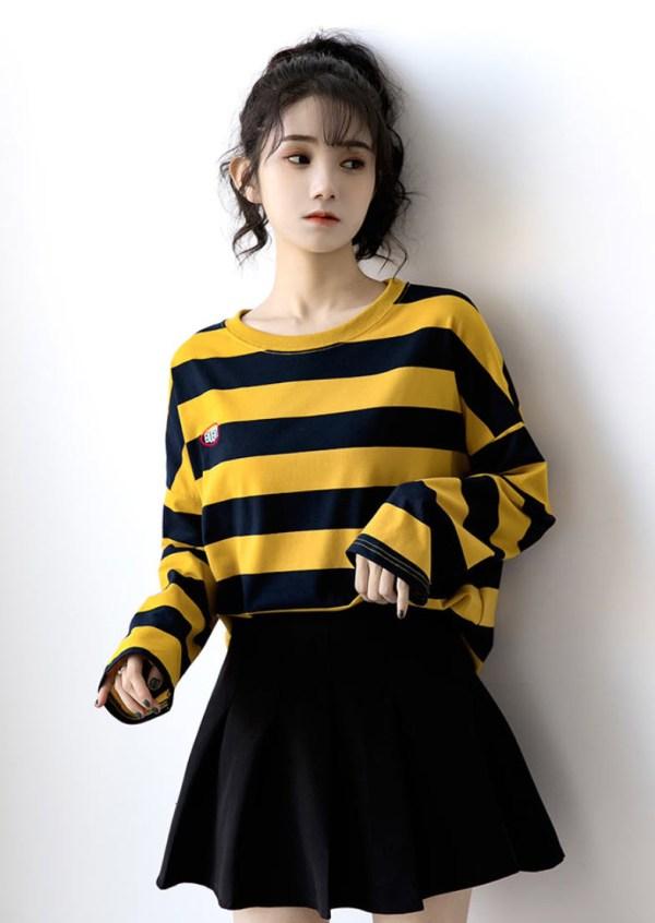 Yellow Striped Long-Sleeved Sweatshirt | Seulgi – Red Velvet