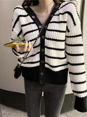 Shuhua White Striped Loose V-Neck Cardigan (1)