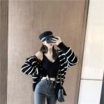 White Striped Loose V-neck Cardigan | Shuhua – (G)I-DLE