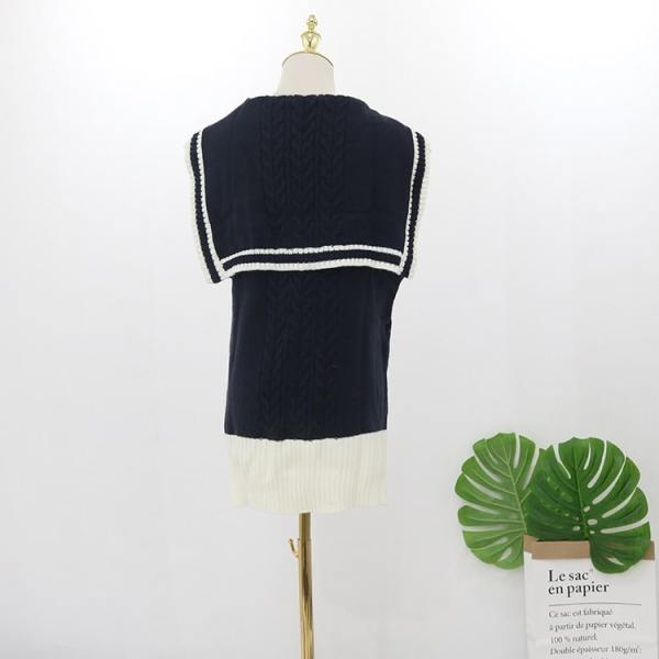 Sailor Type Knitted Sweater Vest   Yuqi – (G)I-DLE