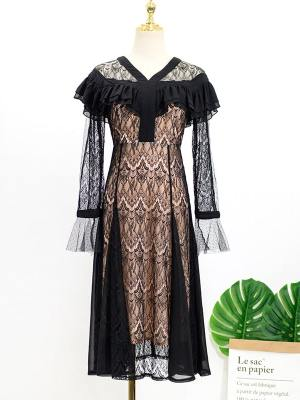 IU Black Lace Dress (7)