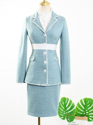 IU Ruffled Blouse, Pastel Blue Blazer & Skirt (6)