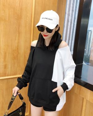 Irene Black and White Shoulder Cut Hoodie (7)