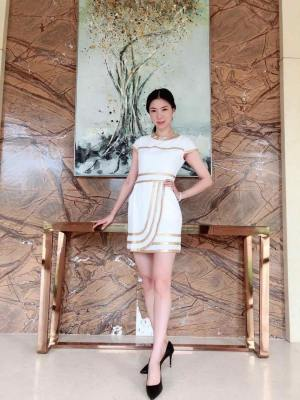 Irene Gold Outlined White Dress