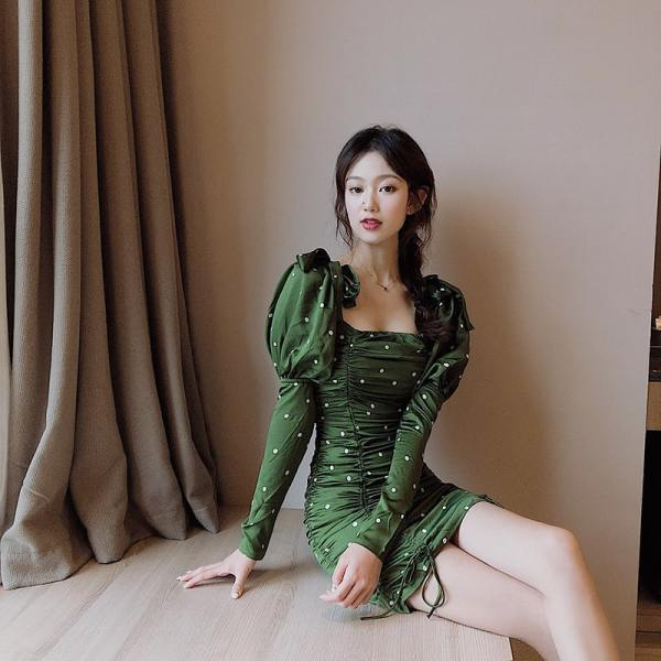 Green Slim Fit Polka Dots Dress   Jeongyeon – Twice