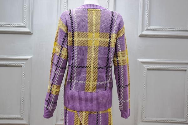 Lilac And Yellow V-Neck Plaid Sweater | Jeongyeon – Twice