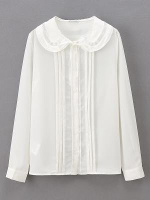 Jihyo White Long Sleeve Doll Collar Blouse (1)