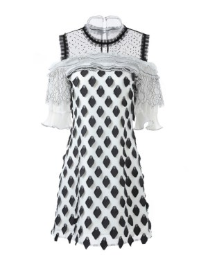 Jisoo Off Shoulder Diamond Embroidery Lace Dress (10)