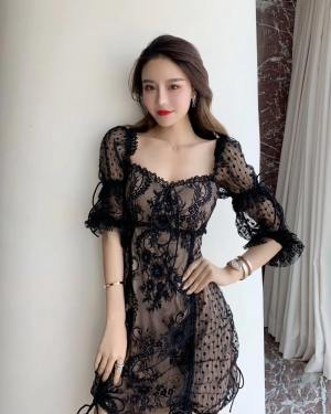 Jisoo Sexy Drawstring Embroidery Lace Dress (22)