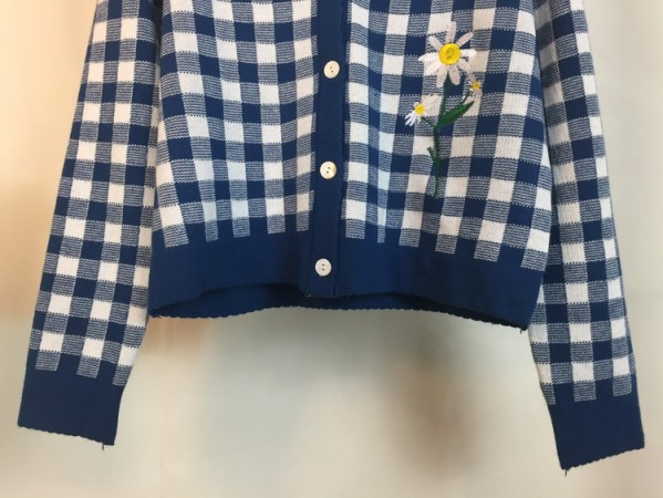 Flower Embroidered Blue Plaid Cardigan | Lisa – BlackPink