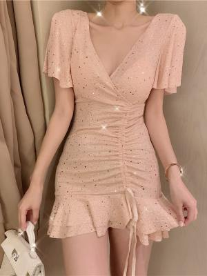 Mina Ruffled Sequined Drawstring Lace Dress Inspiration (6)