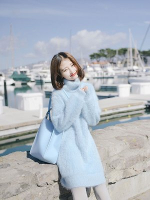 Wendy Light Blue High Collar Long Sweater (4)