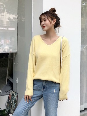 Yeri Light Yellow V-Neck Sweater (1)