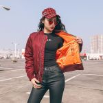 Baseball Jacket With Inner-Orange