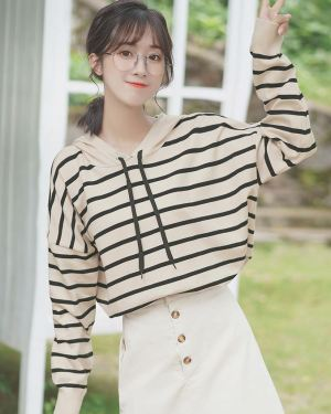 Beige Hoodie With Black Stripes (1)
