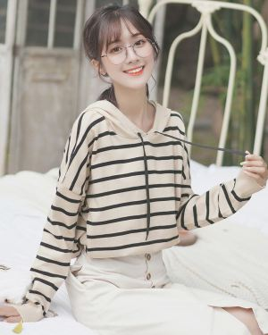 Beige Hoodie With Black Stripes