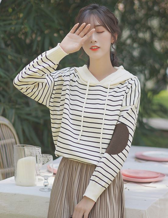 Beige Hoodie With Black Striped And Elbow Patches