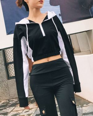 Black White Colored Cropped Zip Hoodie (1)