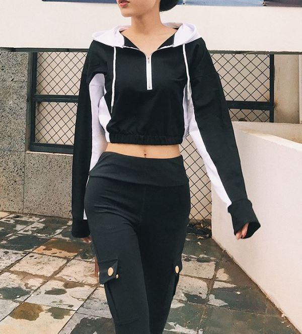 Black White Colored Cropped Zip Hoodie