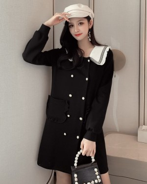 Chaeryeong Sailor Collar Long Sleeve Dress (5)