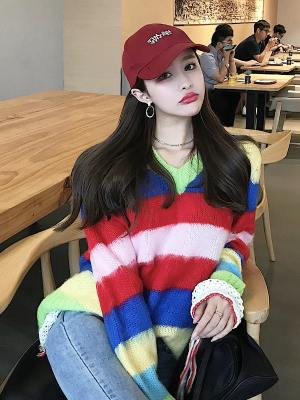Chaeyoung V-Neck Rainbow Striped Sweater (8)