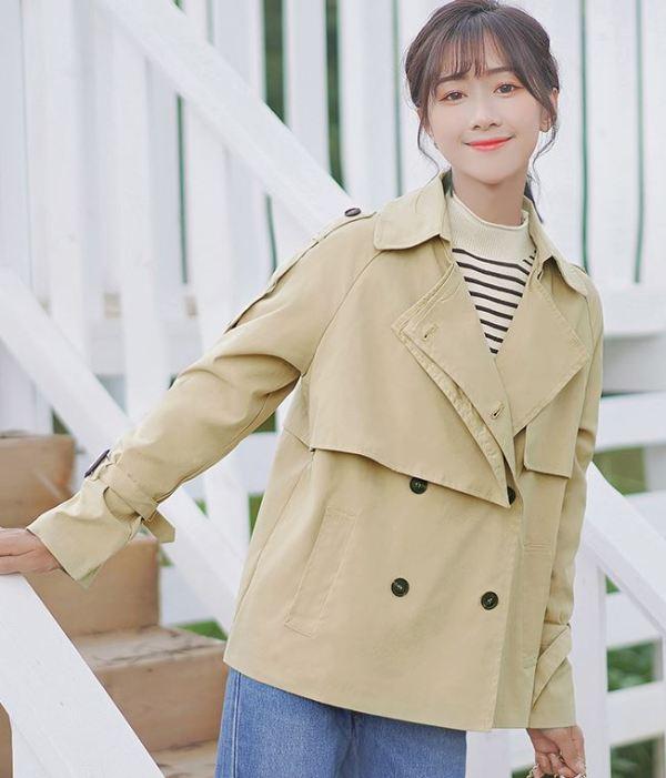 Chic Khaki Regular Long Coat