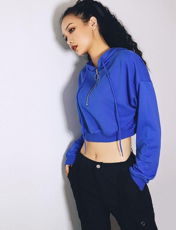 Comfy Blue Cropped Zip Hoodie