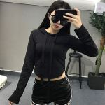 Cropped Hoodie With Long Lace