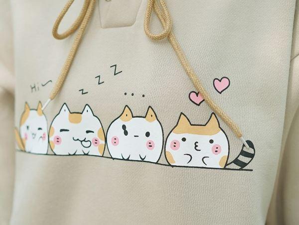 Cute Cat Illustration Hoodie