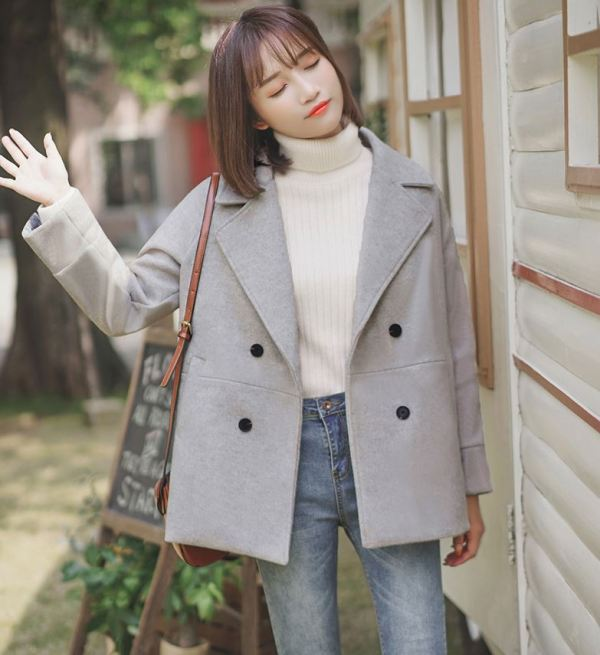 Grey Coat With Plain Inner Lining