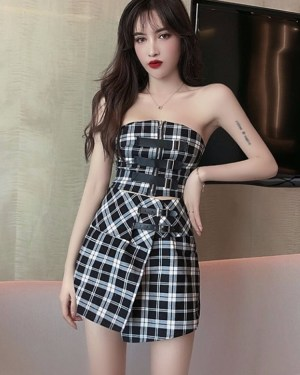 Jennie Black and White Plaid Tube Top and Skirt (6)