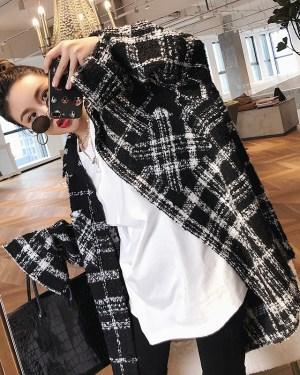 Jimin Fancy White Black Checkered Jacket (4)