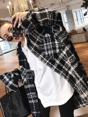 Jimin Fancy White Black Checkered Jacket (4)