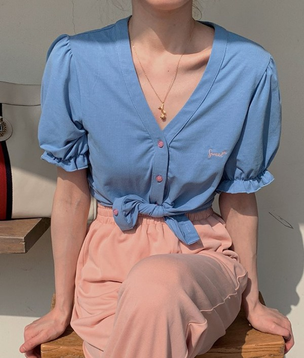 Puff Sleeve Blue Blouse   Jisoo – BlackPink