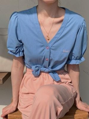 Jisoo Puff Sleeve Blue Blouse (4)