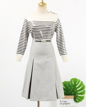 Lisa Black White Striped Sequin Sweater & Grey Pleated Skirt (8)