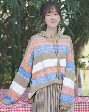 Loose Striped Multicolored Hoodie (1)